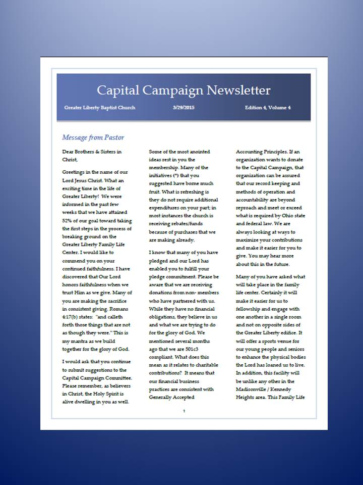 Capital Campaign – Greater Liberty Missionary Baptist Church