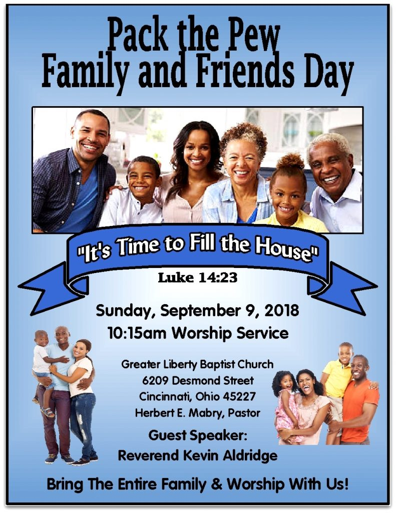 pack the pew flyer in color greater liberty missionary baptist church